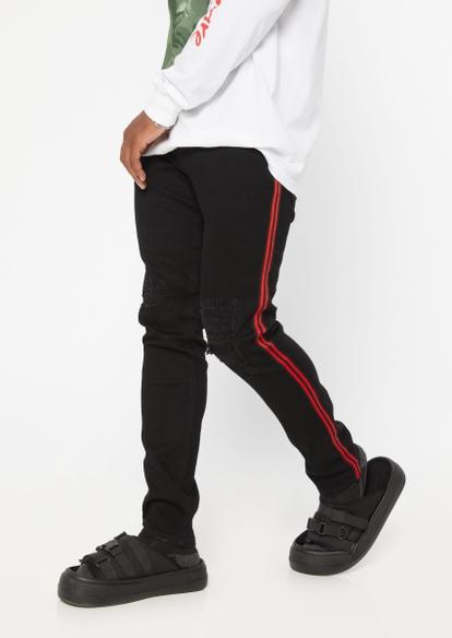 black rip repair red side stripe super skinny jeans - Main Image