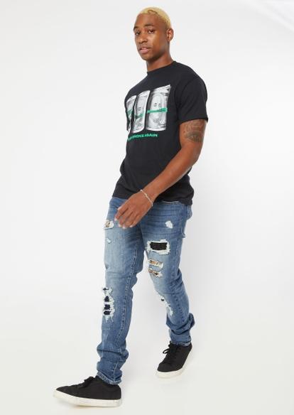 medium wash studded rip repair stacked skinny jeans - Main Image