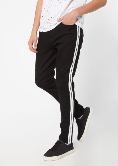 black rip repair side stripe active joggers - Main Image