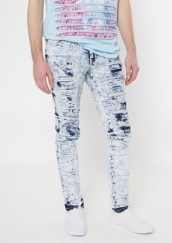 supreme flex icy wash ripped repaired super skinny jeans - Main Image