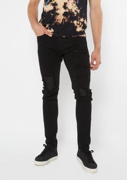black moto rip repair skinny jeans - Main Image