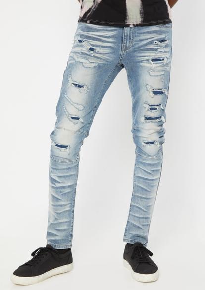 medium wash rip repair knee seam skinny jeans - Main Image