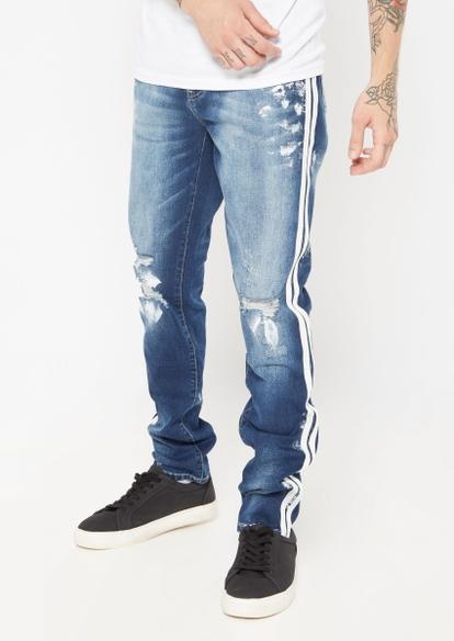 dark wash ripped paint smear white side stripe skinny jeans - Main Image