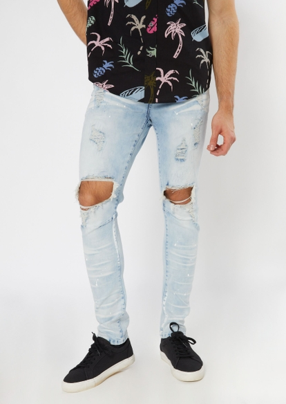 light wash ripped knee arc skinny jeans - Main Image