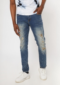 dark wash faded ripped repaired skinny jeans - Main Image