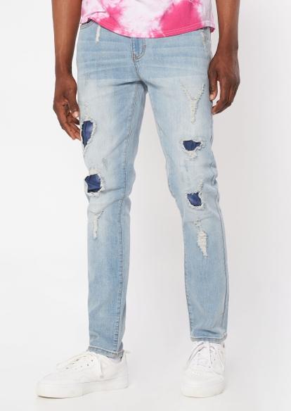 light wash tie dye patch rip repair skinny jeans - Main Image