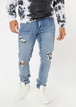 light wash bandana rip repair skinny jeans - Main Image