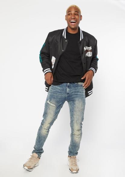 medium wash faded destroyed skinny jeans - Main Image
