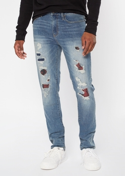 medium wash ripped repaired print backed skinny jeans - Main Image
