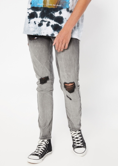 gray wash ombre ripped knee skinny jeans - Main Image