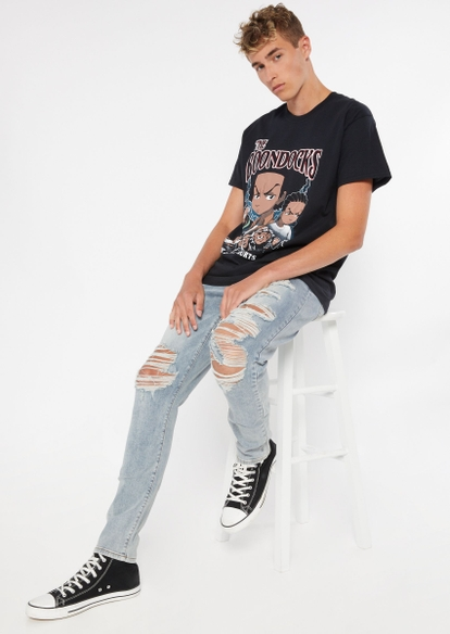 light wash destroyed stretch skinny jeans - Main Image