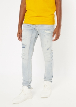 light wash ripped repaired arc skinny jeans - Main Image
