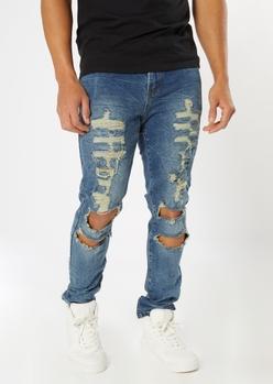 medium wash destroyed crinkle wash skinny jeans - Main Image