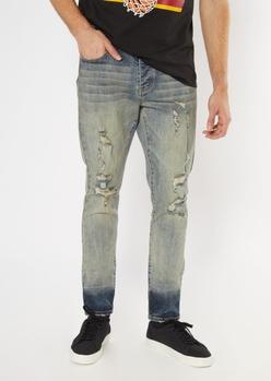 medium wash tinted destroyed skinny jeans - Main Image