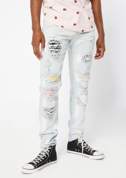 bleach wash multicolor studded rip repair skinny jeans - Main Image
