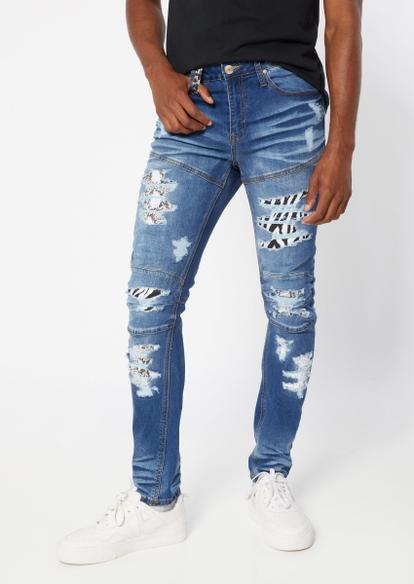 faded wash animal print rip repair skinny jeans - Main Image