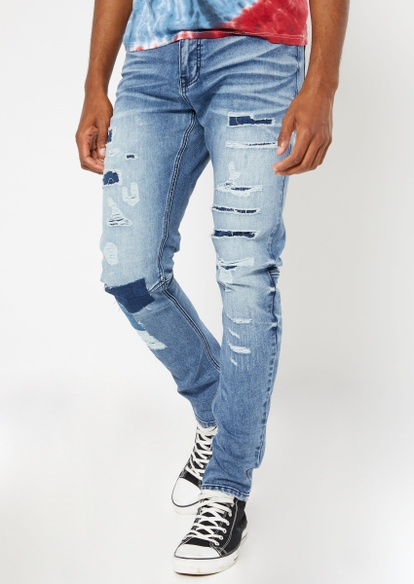 medium wash ripped patch repair jeans - Main Image