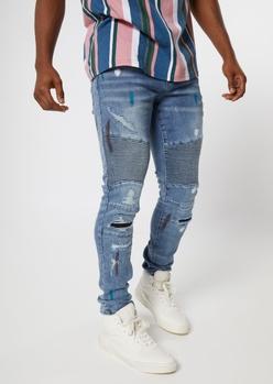 medium wash moto paint smear jeans - Main Image