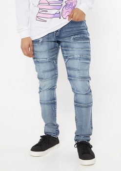 dark wash seamed skinny moto jeans - Main Image