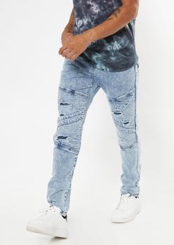 medium acid wash ripped backed moto skinny jeans - Main Image
