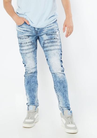 medium acid wash moto seam skinny jeans - Main Image