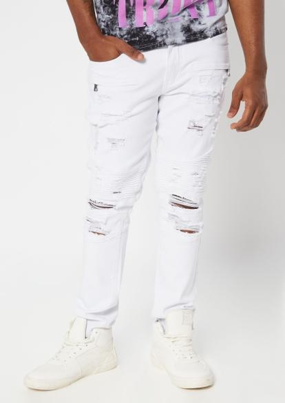 white ripped moto skinny jeans - Main Image