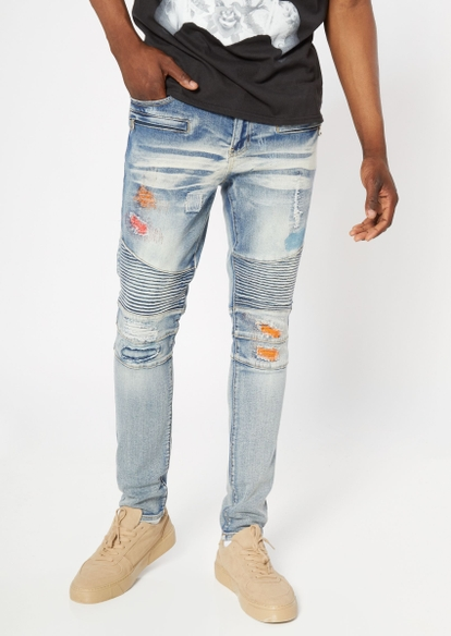 medium wash moto rip repair skinny jeans - Main Image