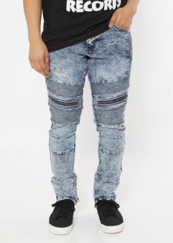 medium acid wash zippered skinny moto jeans - Main Image