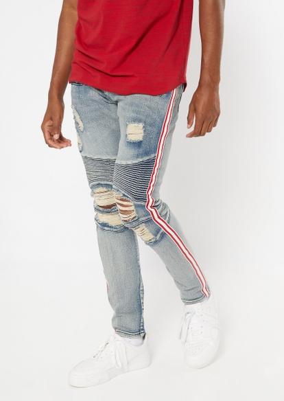 medium wash side striped moto skinny jeans - Main Image