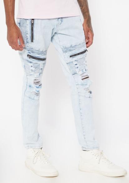 light wash zippered moto skinny jeans - Main Image