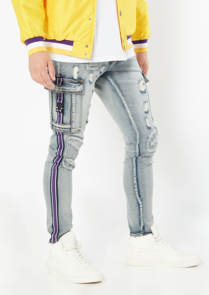 medium wash purple cargo distressed skinny jeans - Main Image
