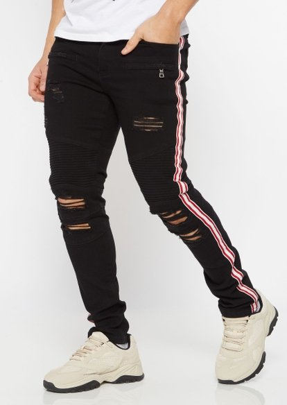 supreme flex black double side striped ripped skinny jeans - Main Image