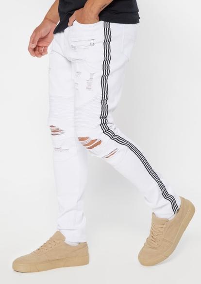 white moto ripped side stripe skinny jeans - Main Image