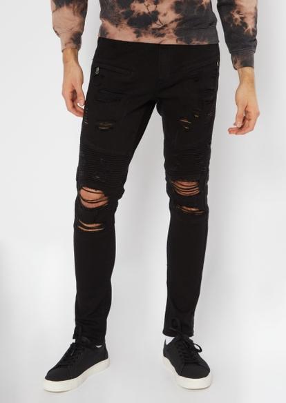 black studded stripe moto jeans - Main Image