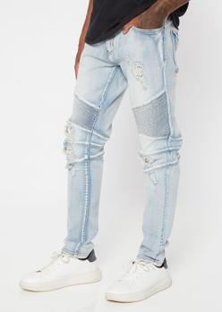 light wash ripped moto skinny jeans - Main Image