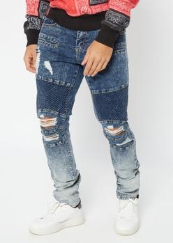 medium wash ombre moto skinny jeans - Main Image