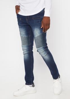 dark wash sandblasted skinny moto jeans - Main Image