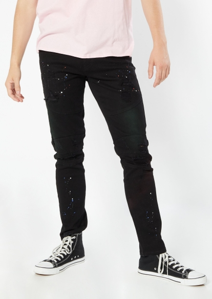 black moto seam ripped paint splatter jeans - Main Image