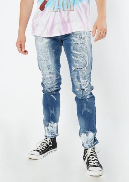 medium wash rip repaired paint splatter jeans - Main Image