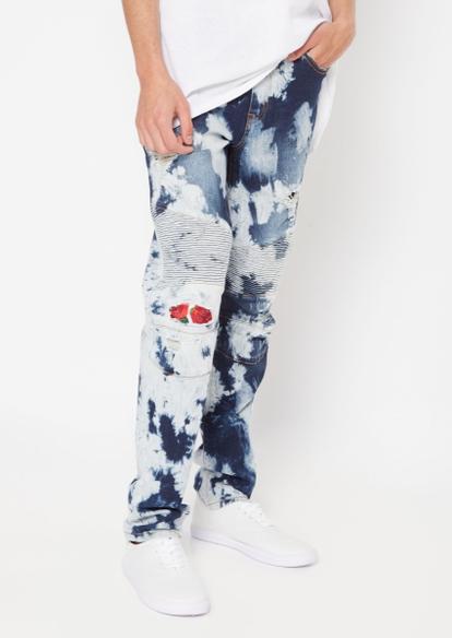 light acid wash moto rose applique skinny jeans - Main Image