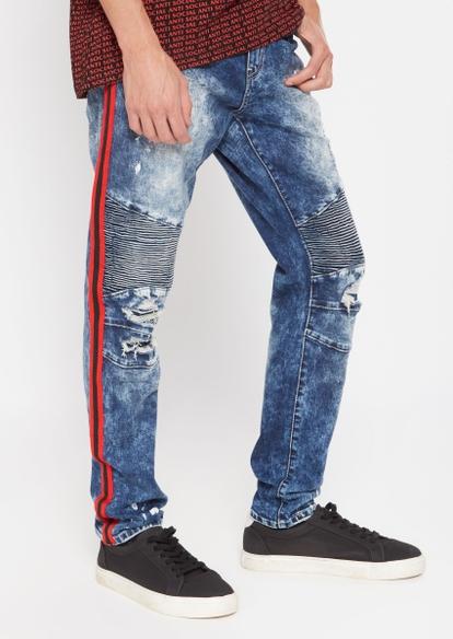 medium wash black side stripe skinny arc jeans - Main Image