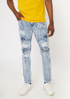 medium streaky acid wash moto jeans - Main Image