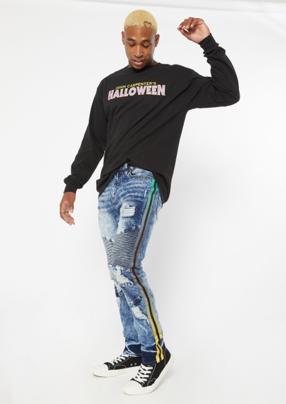 medium wash moto ripped gradient side stripe skinny jeans - Main Image