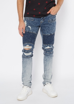 medium acid wash patched ombre ripped moto jeans - Main Image