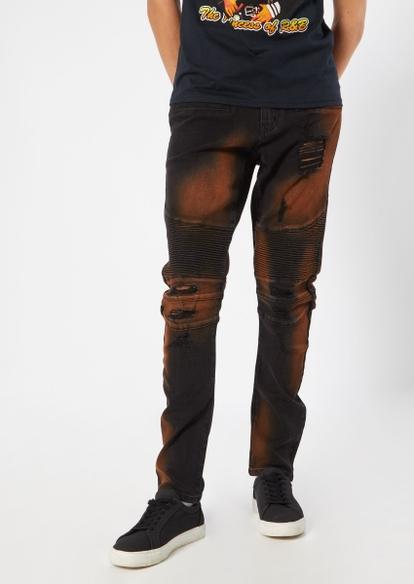 black bleach wash moto seam ripped paint splatter jeans - Main Image