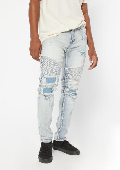 light wash rip repair moto seam skinny jeans - Main Image