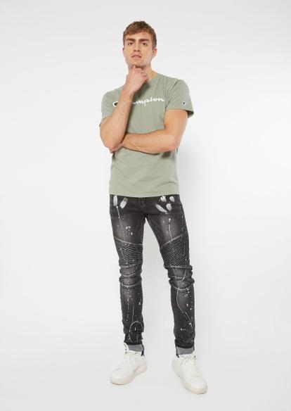 black moto splatter paint cuffed stacked skinny jeans - Main Image