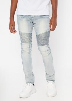 light wash moto super skinny jeans - Main Image