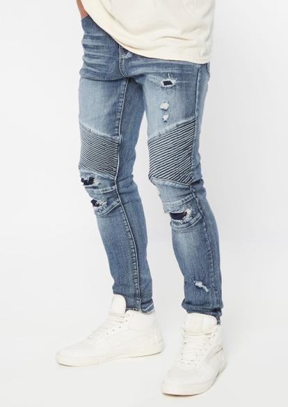 medium wash rip repair moto skinny jeans - Main Image