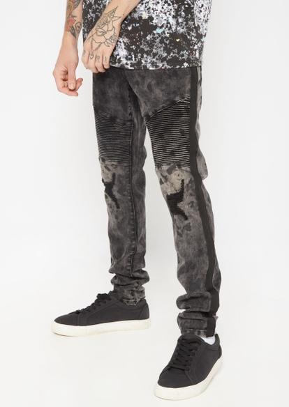 black moto ripped repair side stripe super skinny jeans - Main Image